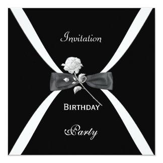 La cravate d'arc blanche noire élégante élégante carton d'invitation  13,33 cm