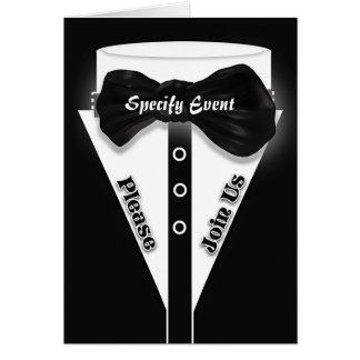 La cravate noire formelle | élégant personnalisent carte de vœux