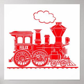 La crèche personnalisée par train graphique rouge poster