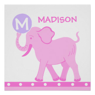 La crèche rose de bébé du cirque | personnalisent poster
