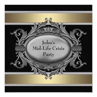 La crise noire de milieu de la vie équipe la carton d'invitation  13,33 cm