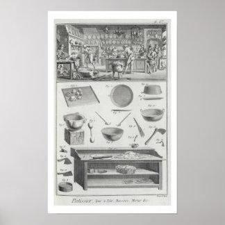 La cuisine et l'équipement d'un boulanger, du 'Enc Posters