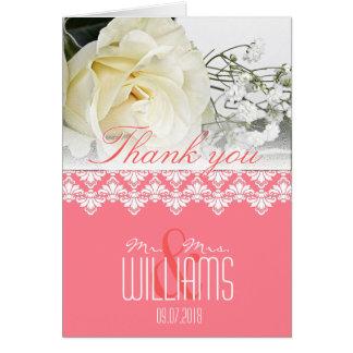 La damassé de carte de remerciements de mariage de