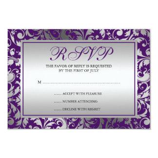 La damassé pourpre et argentée tourbillonne carte carton d'invitation 8,89 cm x 12,70 cm