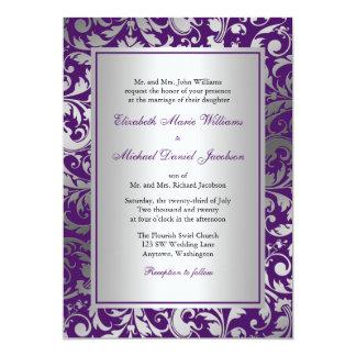 La damassé pourpre et argentée tourbillonne carton d'invitation  12,7 cm x 17,78 cm