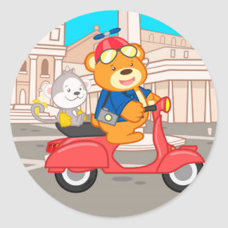 La Dolce Vita Romana - Nano Bear & Junior Monkey Round Sticker