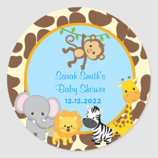 La faveur de baby shower de garçon de jungle de sticker rond