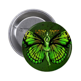 La Fee Verte With Wings Outspread 2 Inch Round Button