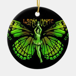 La Fee Verte With Wings Outspread Round Ceramic Ornament