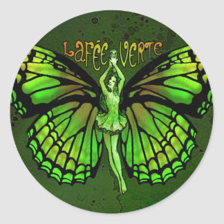 La Fee Verte With Wings Outspread Round Sticker