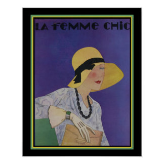 La Femme Chic Deco Magazine Cover 16x20 Poster
