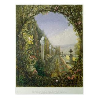 La fenêtre de treillis, jardins de Trentham Hall Carte Postale