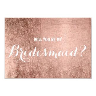 La feuille d'or rose de faux de luxe soit ma carton d'invitation 8,89 cm x 12,70 cm