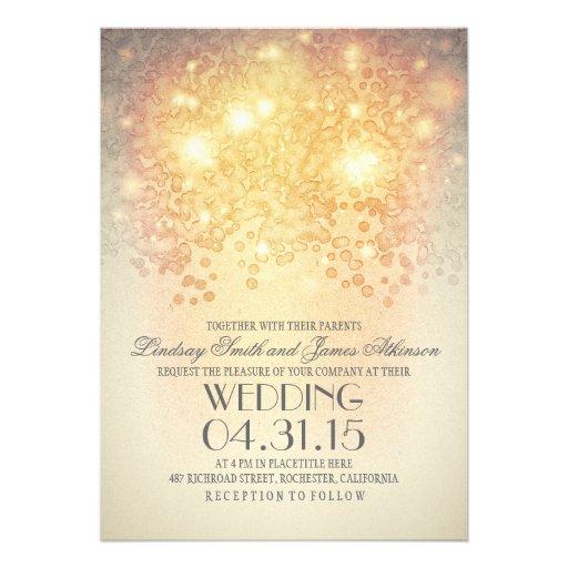 la ficelle de scintillement allume le mariage vint invitations