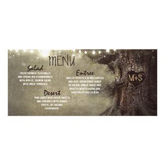 La ficelle rustique allume des cartes de menu de cartes doubles customisables