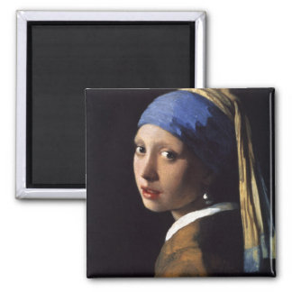 La fille avec la boucle d'oreille de perle par Ver Magnet Carré