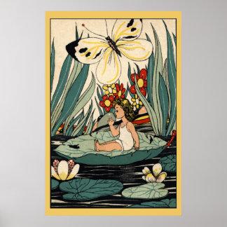 La fille vintage sur la protection de lis fleurit, posters