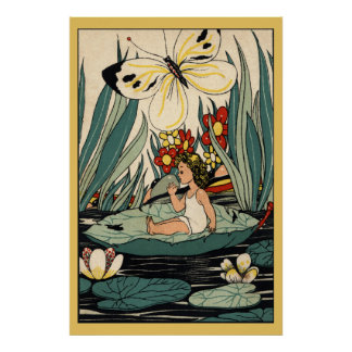 La fille vintage sur la protection de lis fleurit, poster