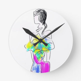 La Fleur Fashion Illustration Round Clock