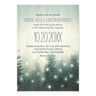 La forêt allume l'invitation rustique de mariage carton d'invitation  12,7 cm x 17,78 cm