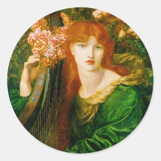 La Ghirlandata by Dante Gabriel Rossetti Classic Round Sticker