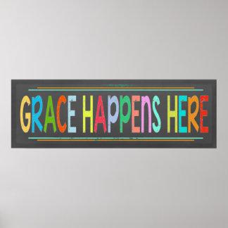 La grâce se produit ici tableau chrétien coloré poster