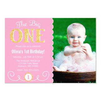 La grande une ?ère photo d'anniversaire d'or rose carton d'invitation  12,7 cm x 17,78 cm