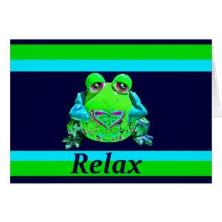 La grenouille colorée géniale DÉTENDENT la marine Carte De Correspondance