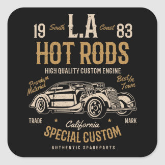 LA Hot Rods California Custom Engine Square Sticker