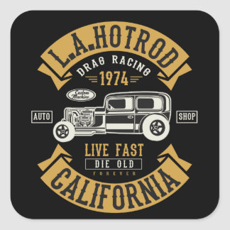 LA Hotrod California Drag Racing 1974 Square Sticker