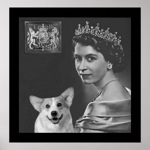 La jeune Reine Elizabeth II et chien de corgi Poster