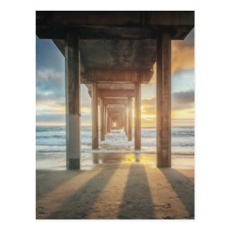 La Jolla, Scripps'S Pier At Sunset | San Diego Postcard