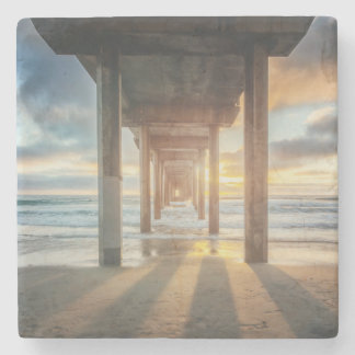 La Jolla, Scripps'S Pier At Sunset | San Diego Stone Beverage Coaster