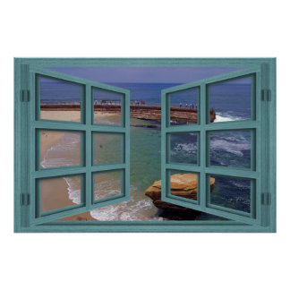 La Jolla Seal Beach 6 Pane Open Window Poster