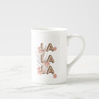 LA LA LA- Girly Trendy RoseGold Flower Motivation Tea Cup