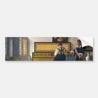 La leçon de musique de Johannes Vermeer (circa1663 Autocollant De Voiture