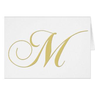 La lettre M de monogramme d or choisissent Carte De Vœux