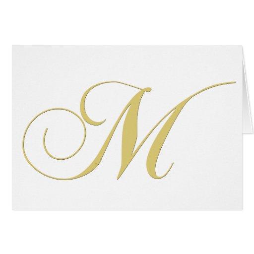 La lettre M de monogramme d'or choisissent Carte De Vœux