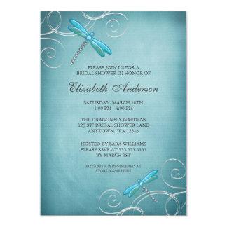 La libellule bleue turquoise tourbillonne douche carton d'invitation  12,7 cm x 17,78 cm