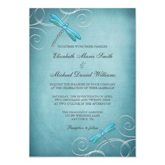 La libellule bleue turquoise tourbillonne mariage carton d'invitation  12,7 cm x 17,78 cm