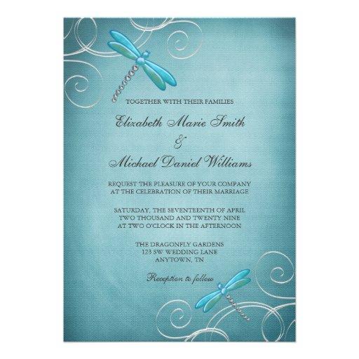 La libellule bleue turquoise tourbillonne mariage faire-part personnalisables