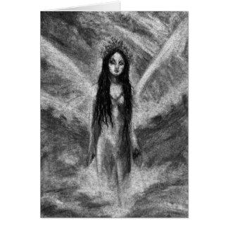 La Luna Dark Angel Fairy Goth Woman Original Art Greeting Card