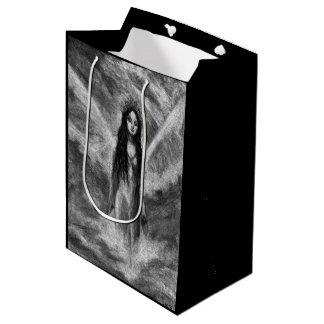 La Luna Dark Angel Goth Black & White Fantasy Art Medium Gift Bag