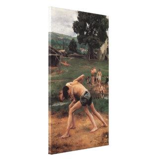 La Lutte Canvas Print