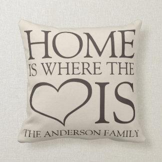 La maison est où le coeur est famille oreillers