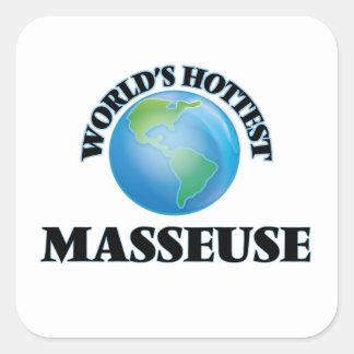 La masseuse la plus chaude du monde autocollant carré