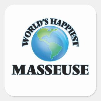 La masseuse la plus heureuse du monde sticker carré