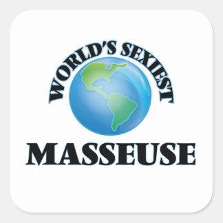 La masseuse la plus sexy du monde autocollants carrés