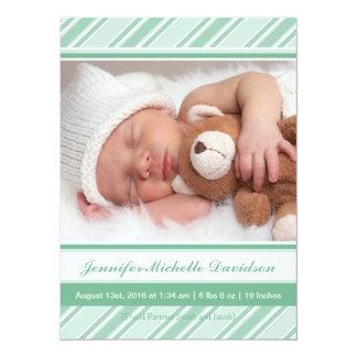 La menthe barre des annonces de naissance de bébé carton d'invitation  13,97 cm x 19,05 cm