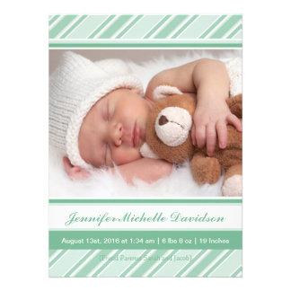La menthe barre des annonces de naissance de bébé invitations